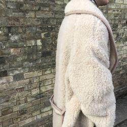 Wool Blanket Maxi Coat in Natural beige