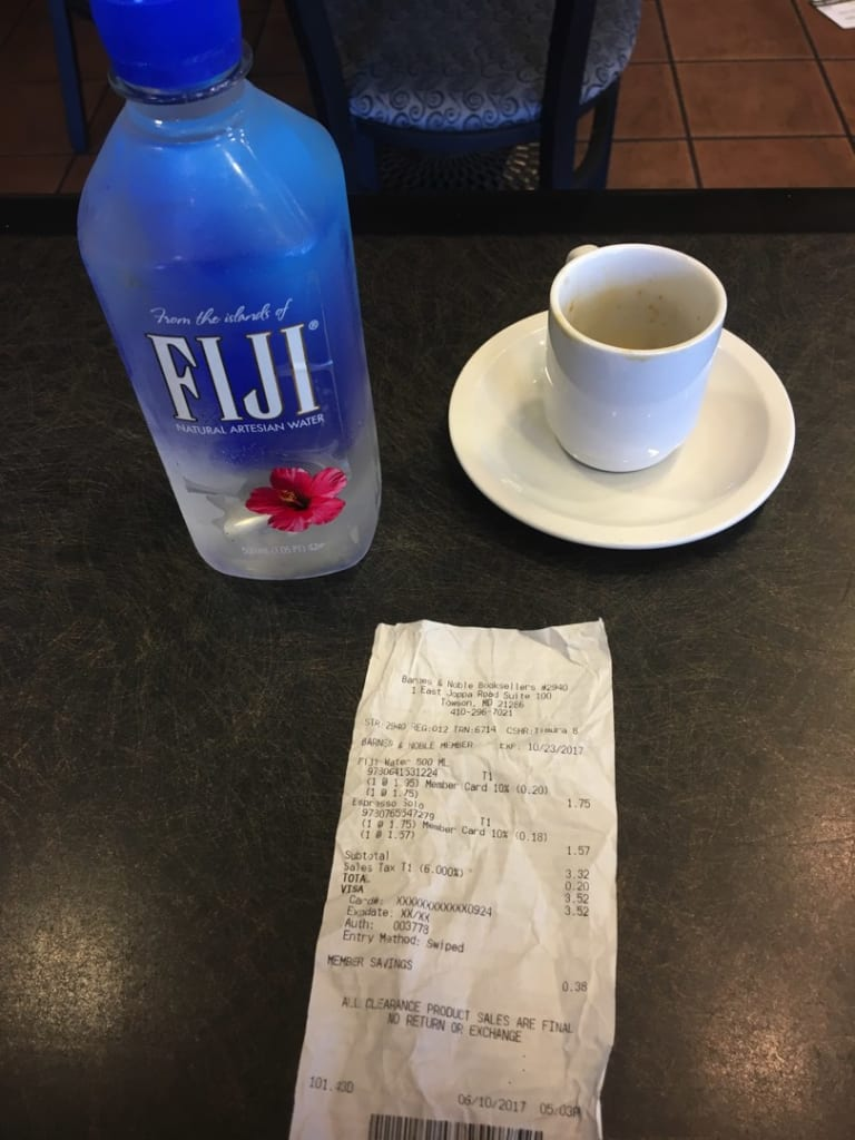 fiji water and espresso with receipt