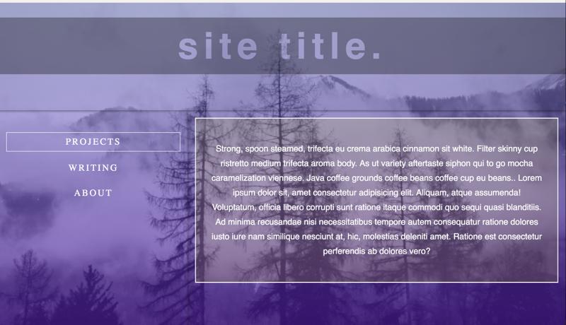 translucent purple peaks hover sidebar menu