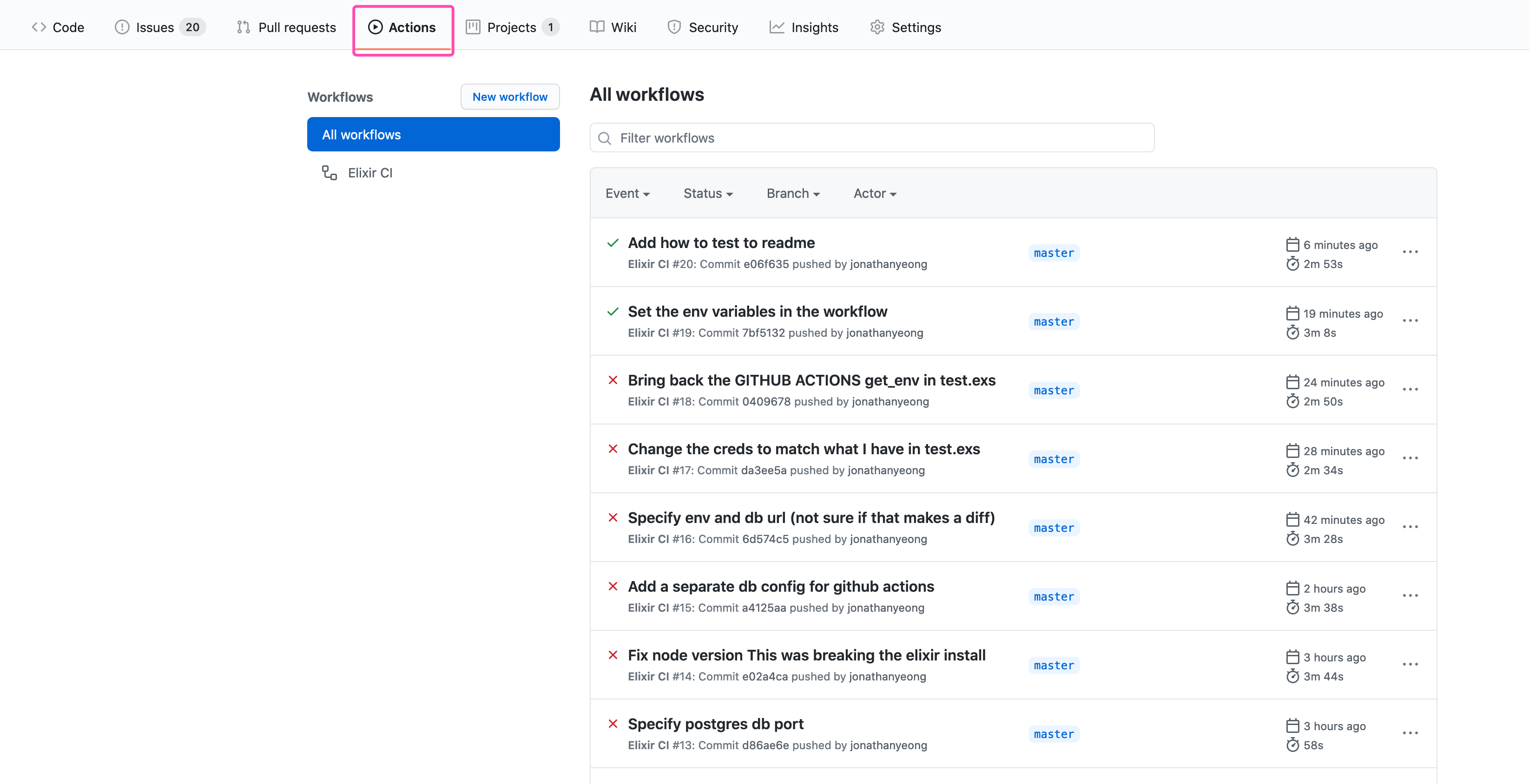 Github Actions page