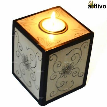 Ivory Vine Cube Candle