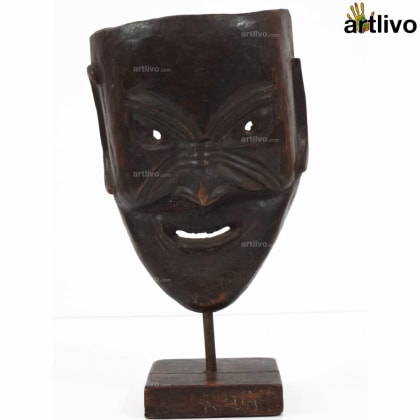 VINTAGE Single Piece Wooden Tribal Mask on Stand - MA028