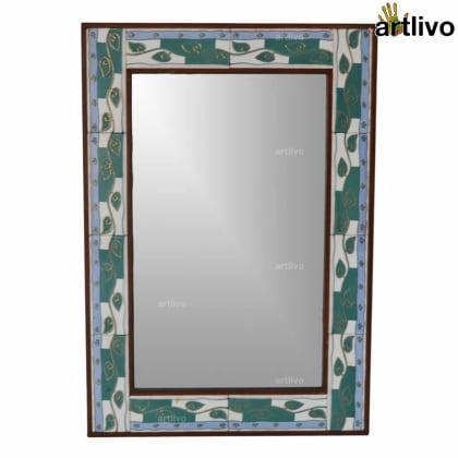 32 Inches Decorative Floating Leaves Handcrafted Tile Mirror Frame