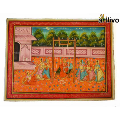 Mughal Leisure Painting on Canvas - Unframed