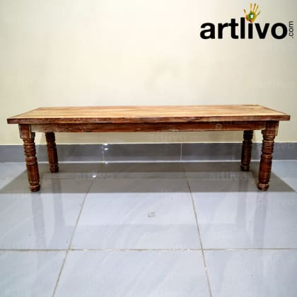 Wooden Long Dining Bench With Drawer