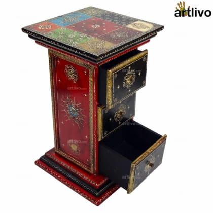 3 Drawer Pillar Table - Red