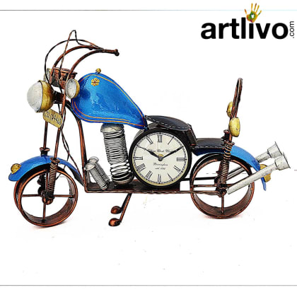POPART Blue Bike Table Clock With 4