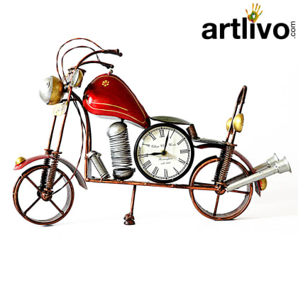 POPART Red Bike Table Clock With 4