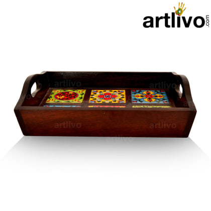 6 Tile Wooden Tray