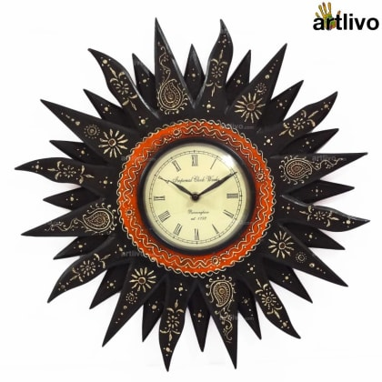 EMBOSSED Black Sunny Wall Clock