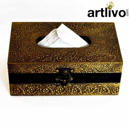 UBER ELEGANT Brass Tissue Box