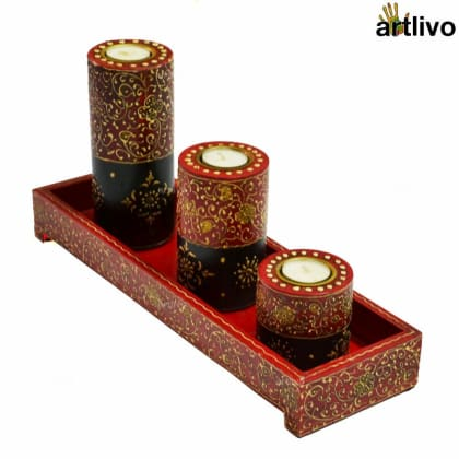 BOLD RED Candle Stands with Tray