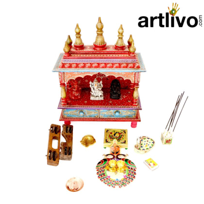 EMBOSSED Dome Mandir with 2 Storage Drawers - MN009