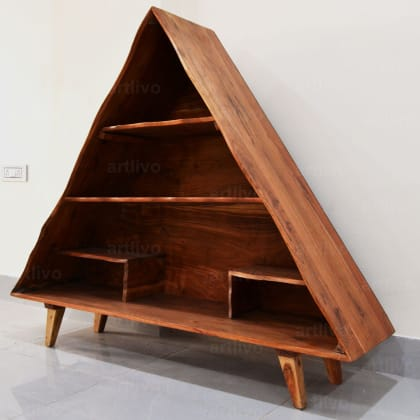 Triangular Shape Wooden Rack / Bookshelf