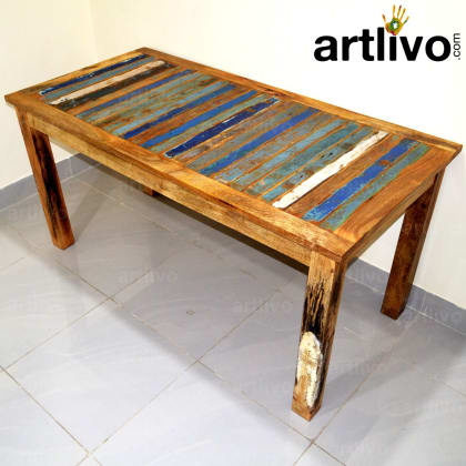Wooden Rustic Look Dining Table