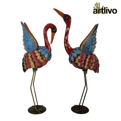 POPART Iron Flamingo Showpiece Set of 2