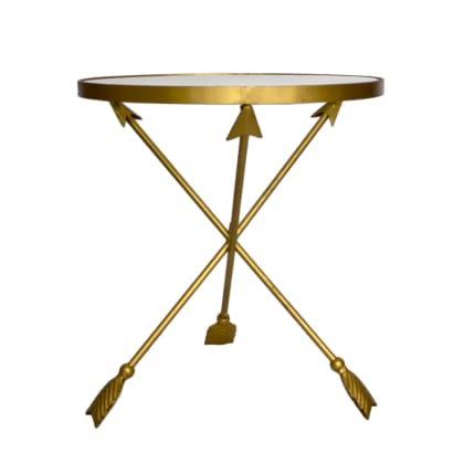 Golden Arrow Side Table with Glass Top