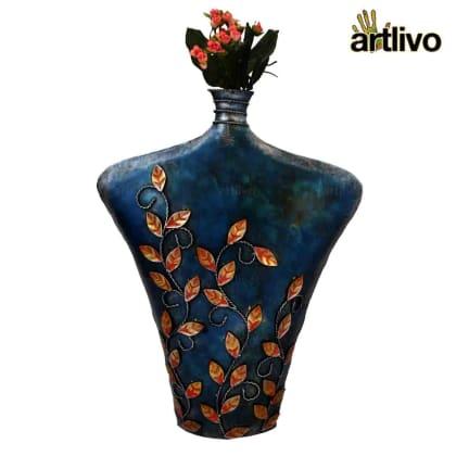Iron Flower Vase Leaf Design - Blue