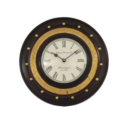 Wooden Wall Clock with Brass Inlay