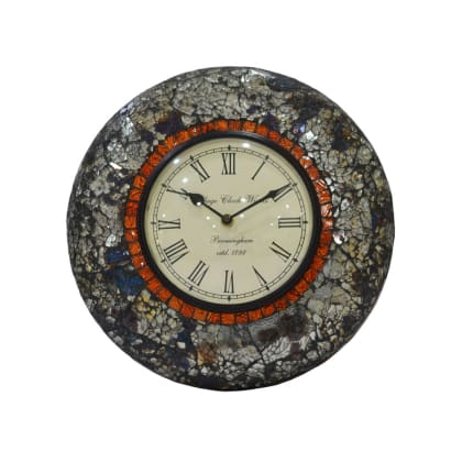 Glass Work Round Wall Clock