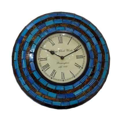 Blue Black Maze Wall Clock