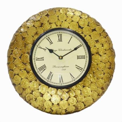 Brass Coin Design Wall Clock