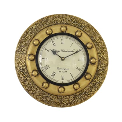 Brass Double Border Floral Wall Clock