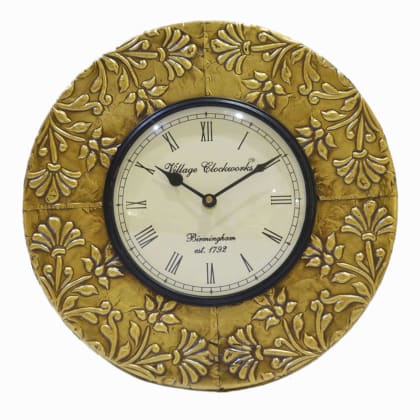 Brass Floral Wall Clock