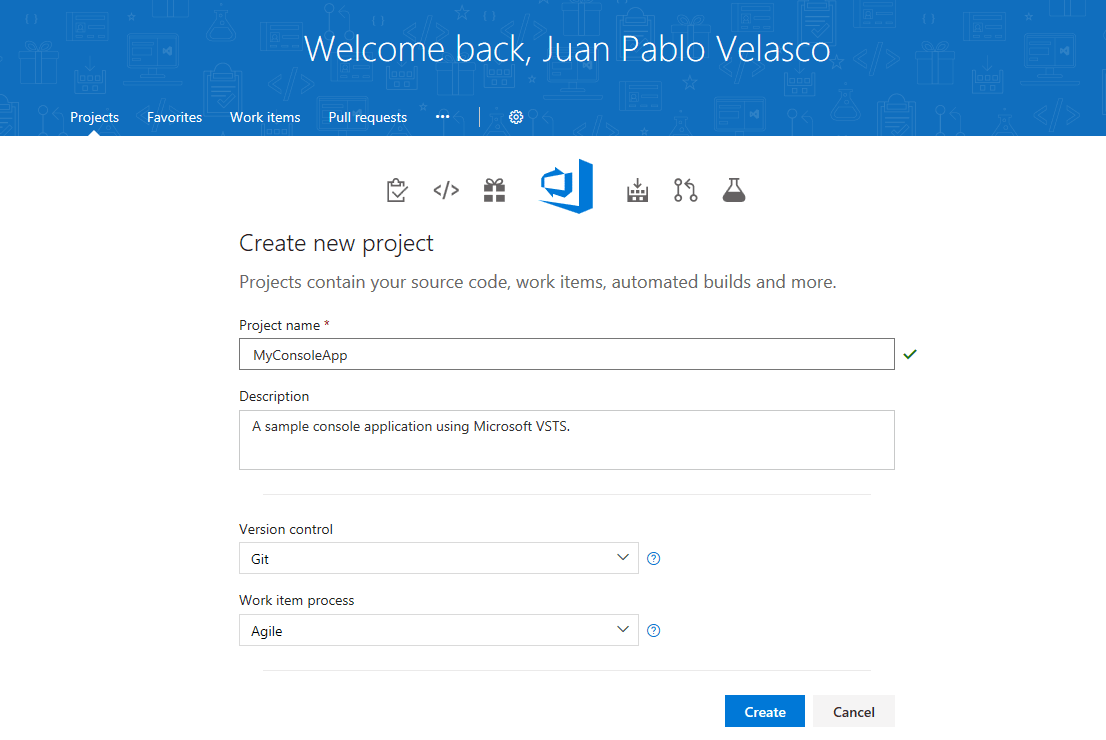 VSTS Project Homepage