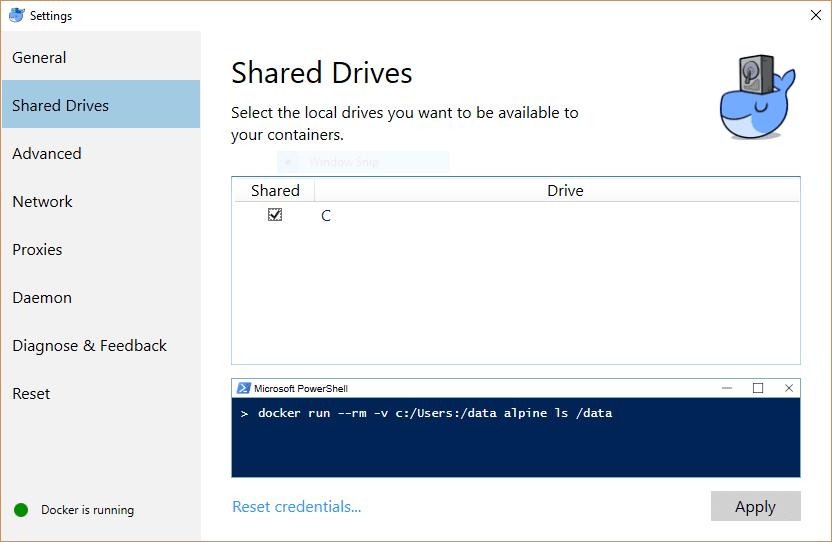 Docker Drive Settings