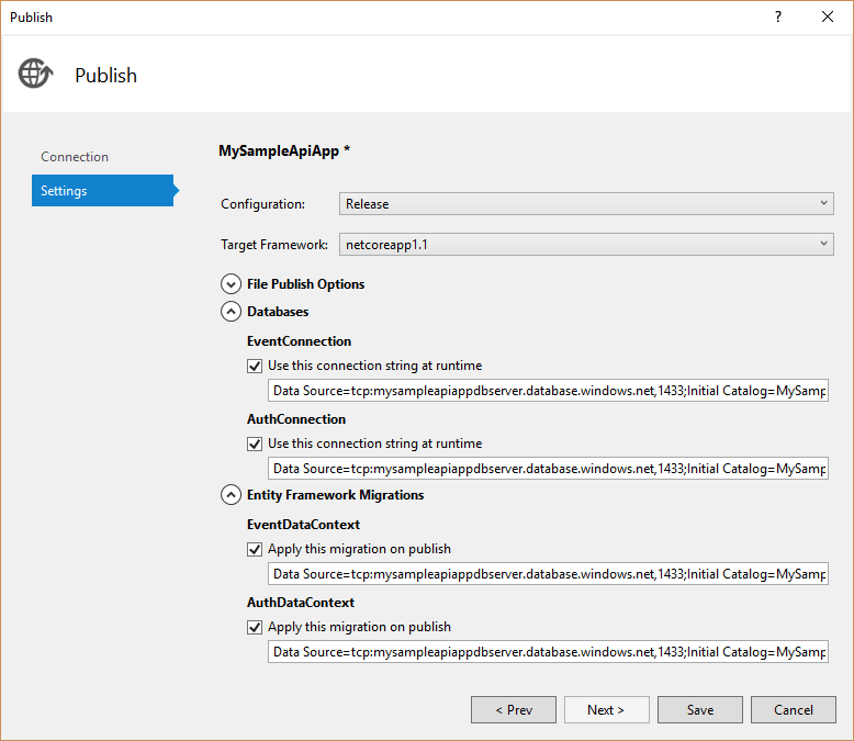 Settings Before Publishing to Azure