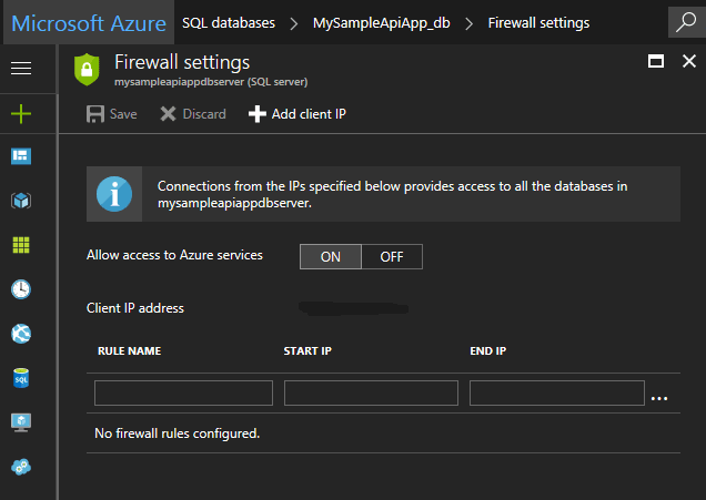 SQL Azure IP Address Firewall Setting
