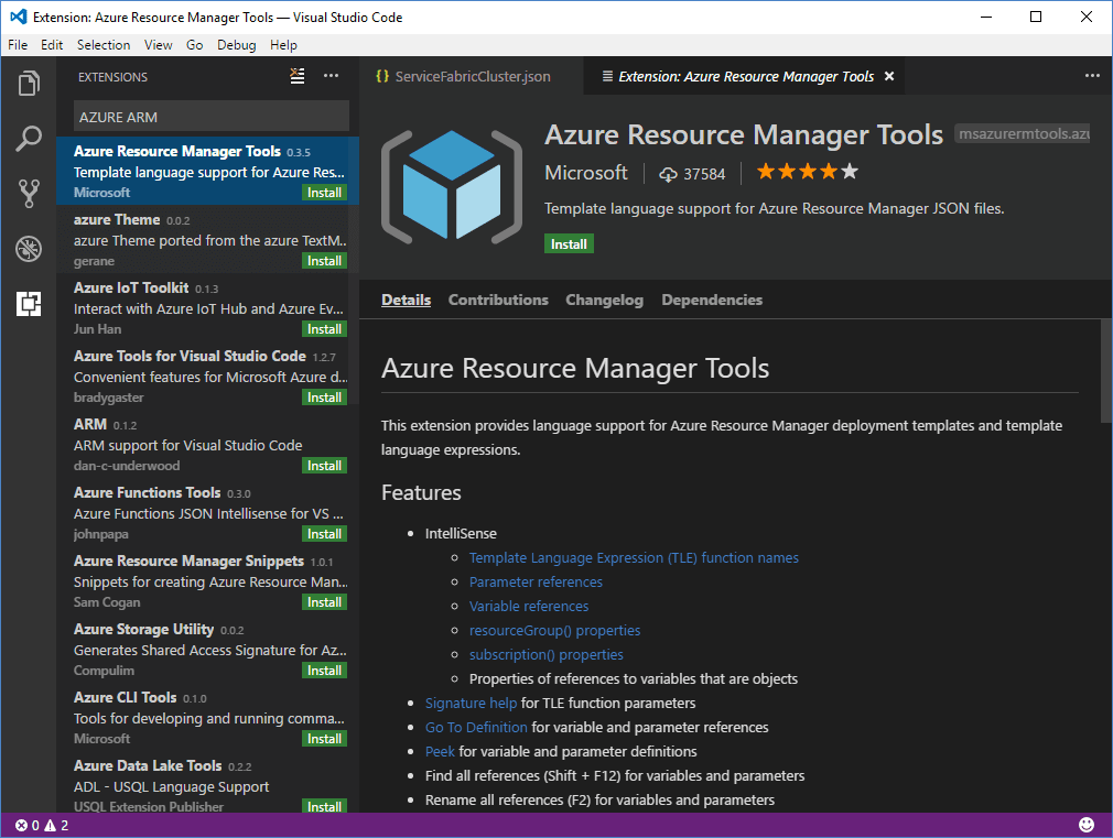 Visual Studio Code Plugin for ARM Templates