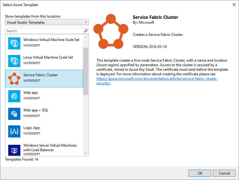 Service Fabric Cluster VS2017 ARM Template Picker