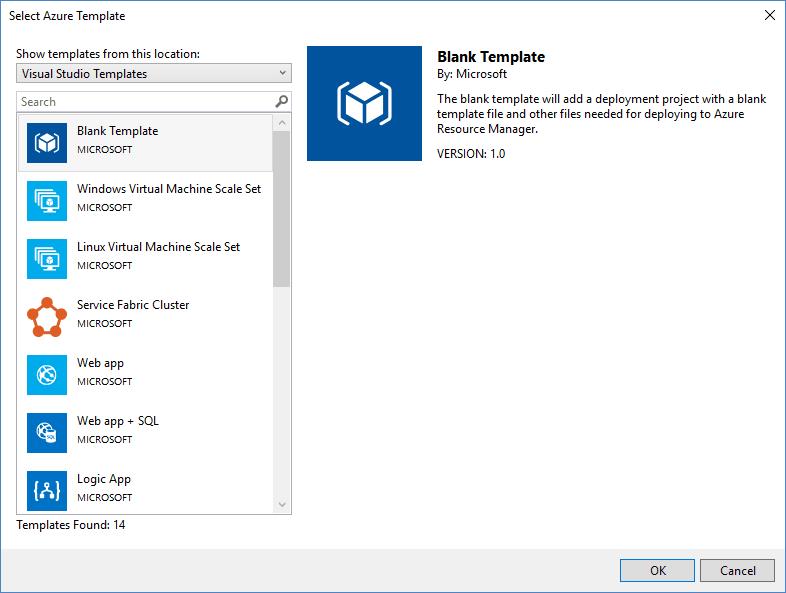 Visual Studio 2017 ARM Templates List