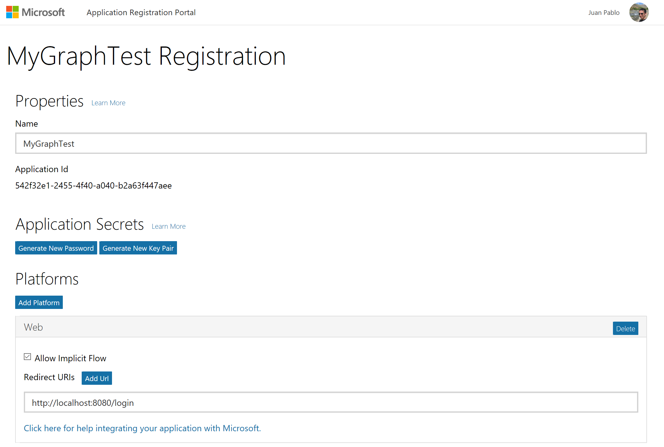Application Registration View
