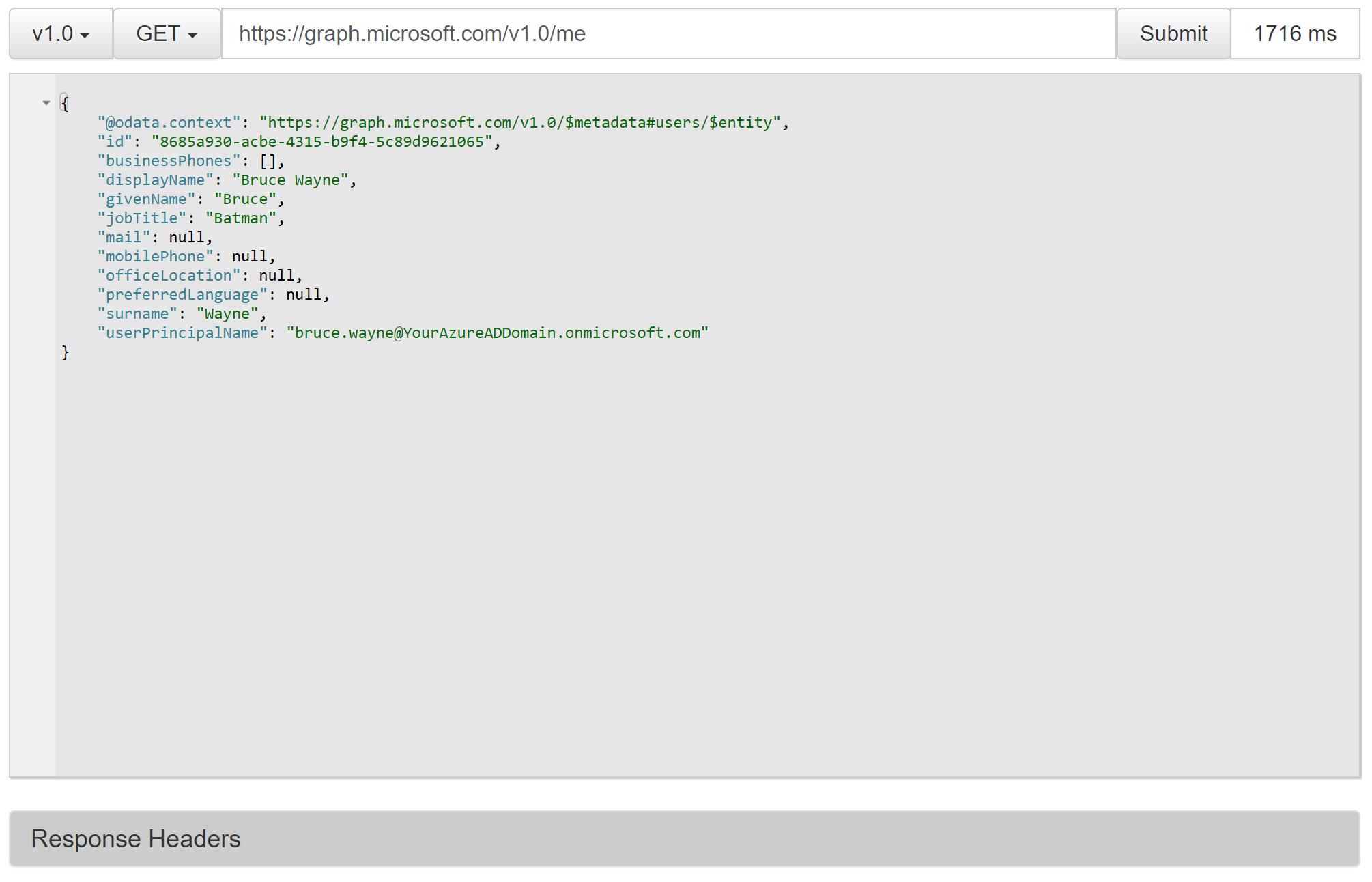 Microsoft Graph Explorer V1.0 Endpoint