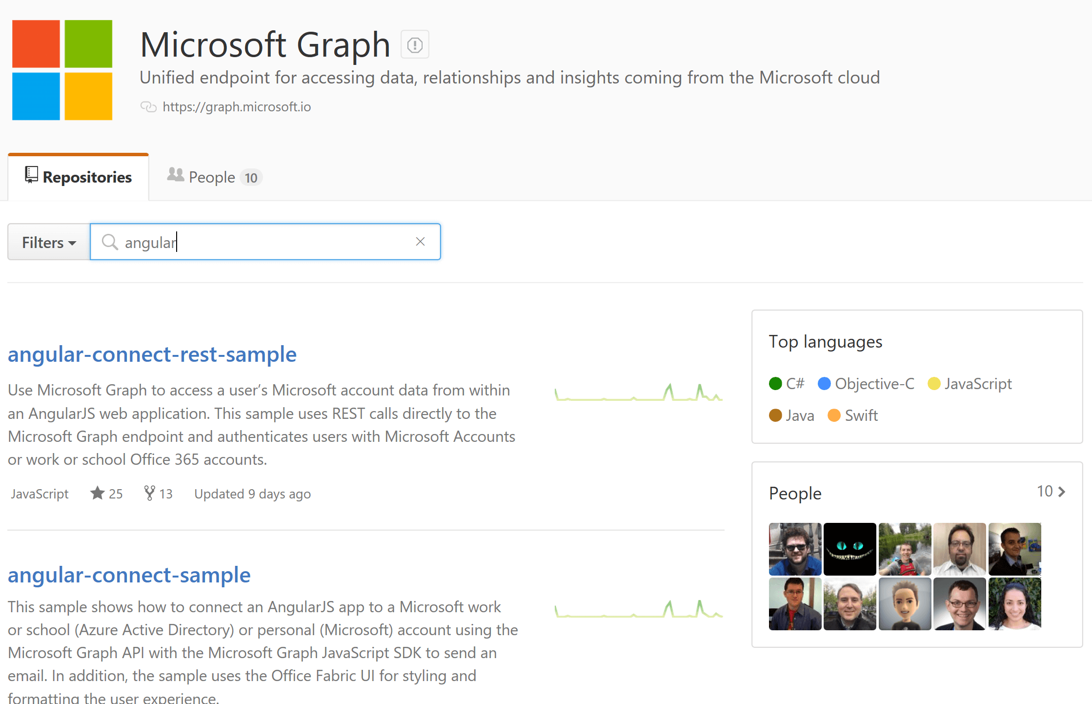 Microsoft Graph Angular Samples on GitHub