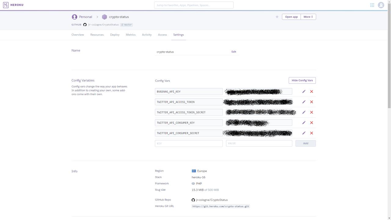 Screenshot der Heroku-App-Settings mit den Umgebungsvariablen