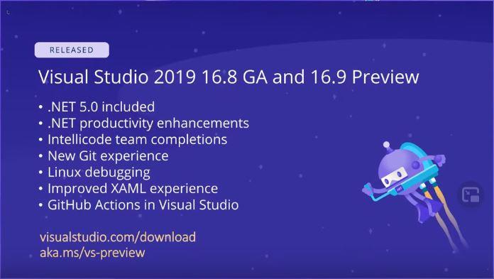 .NET Conf 2020 slide showing Visual Studio updates