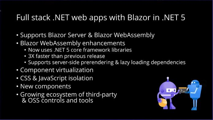 .NET Conf 2020 slide showing Blazor notes