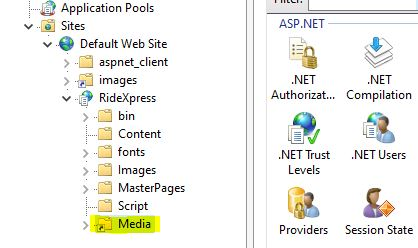 Screen shot highlighting a Virtual Directory in IIS