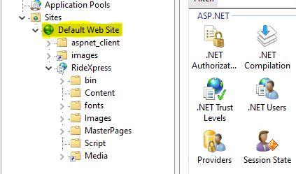 Screen shot highlighting a Site in IIS