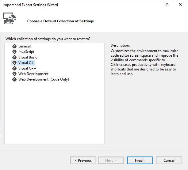 Screenshot of Visual Studio Import and Export Wizard window