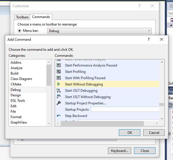 Screenshot of Visual Studio Add Command window
