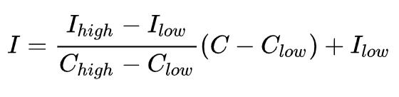 US EPA AQI Formula: I = (I_high - I_low) / (C_high - C_low) * (C - C_low) + I_low