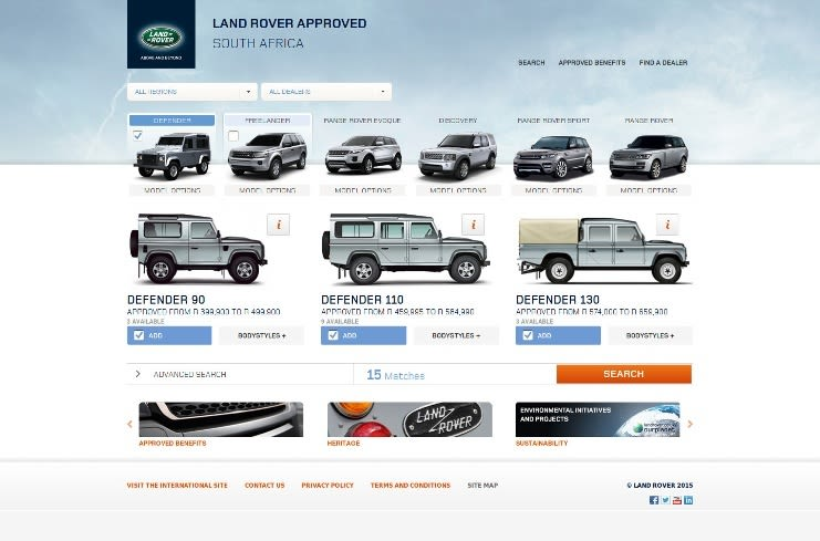 Model selection page