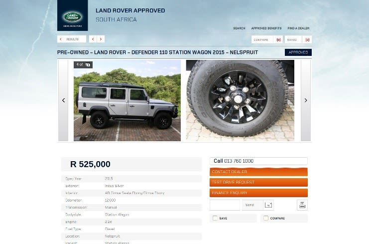 Vehicle detail page