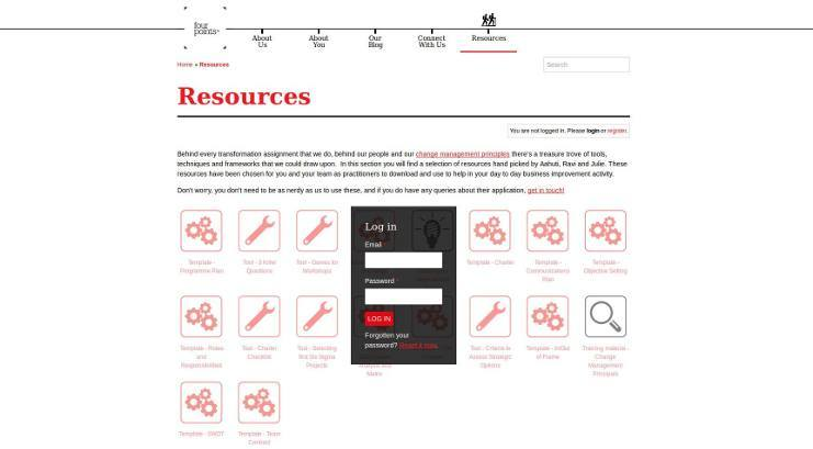 Resources login page