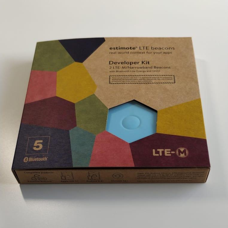 Photo of the estimote LTE beacons Developer Kit box
